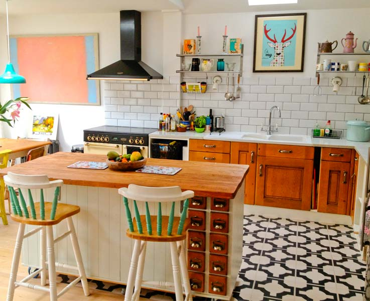 gigi's kitchen with our parquet charcoal floorneisha crosland