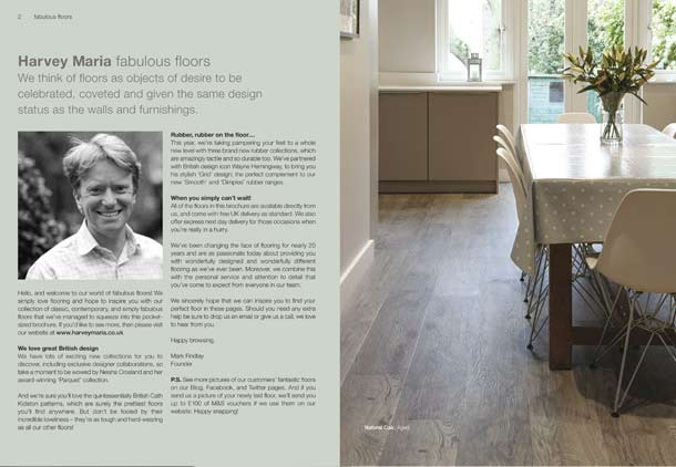 Brochure introductory page with beautiful kitchen photo