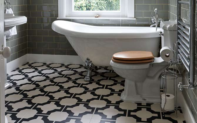 Featured Floor Louises Stylish Bathroom With Parquet