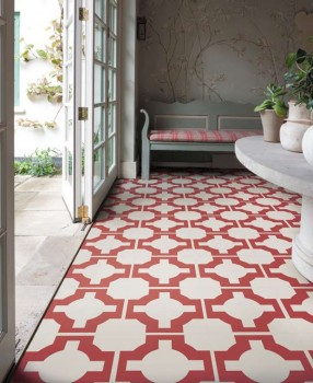 red deisgner floor in a conservatory