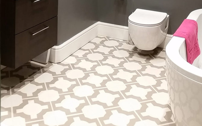 Before & After: Maggie's Luxurious Bathroom with Parquet Stone Flooring
