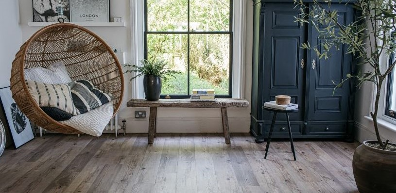 wood effect floor in living room