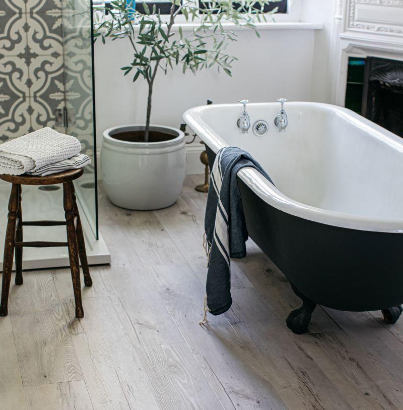rustic wood plank in bathroom